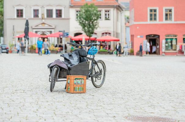 Förderung von Umwelt- und Klimaschutz in Thüringen (im Bild: ein Lastenfahrrad auf dem Herderplatz in Weimar)